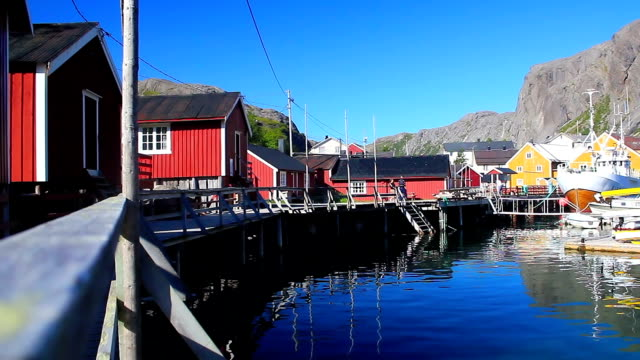 traditional cod fishing village at summer video