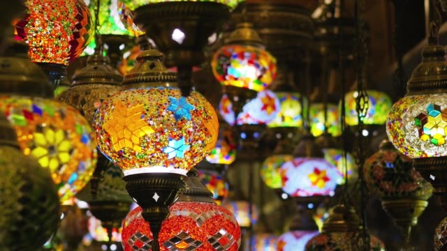 Traditional colorful handmade turkish lanterns Traditional colorful handmade turkish lanterns lantern stock videos & royalty-free footage