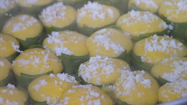 Traditional dessert of Thailand on banana leaf video