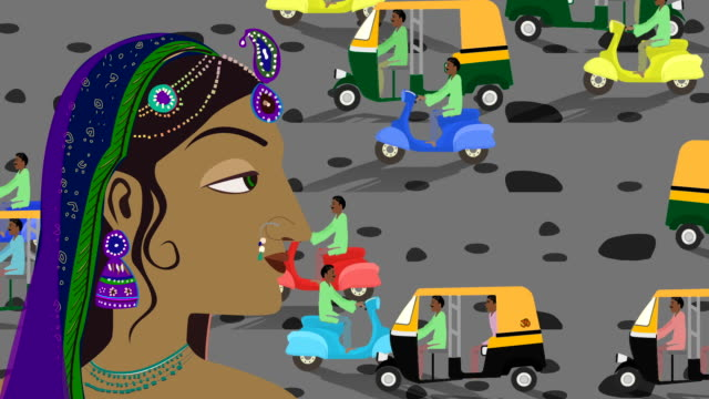 Traditional Indian Hindu Woman In A Busy Indian Street video