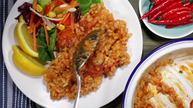 Traditional Italian Style King Prawn Seafood Risotto Meal video