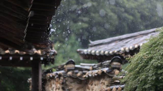 vídeos de stock e filmes b-roll de traditional korean house - coreia do sul