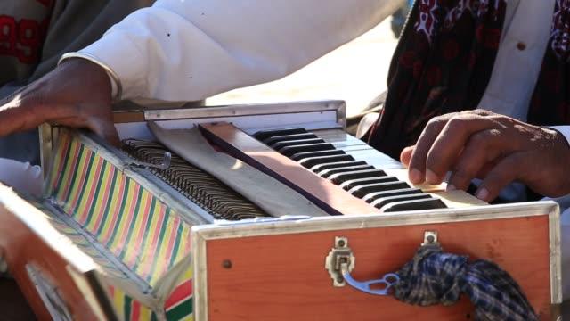 Traditional musical instruments harmonium playing in Jaisalmer, Rajasthan, India video