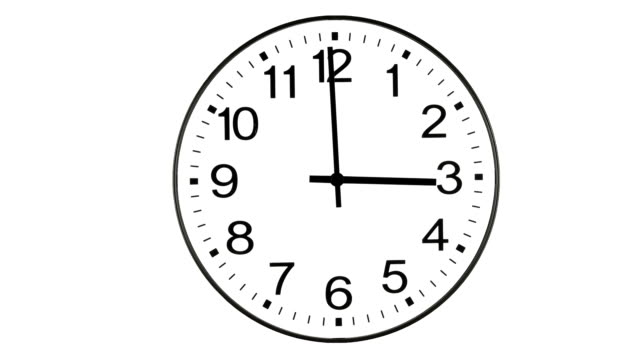 vidéos et rushes de traditionnel bureau horloge murale time lapse animation sur blanc - cadran