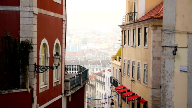 traditional portuguese architecture and building in lisbon - lisbona video stock e b–roll