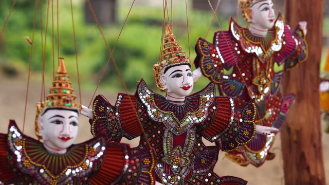 Traditional Puppets at Inle Lake Floating Market, Shan State, Myanmr (Burma) video