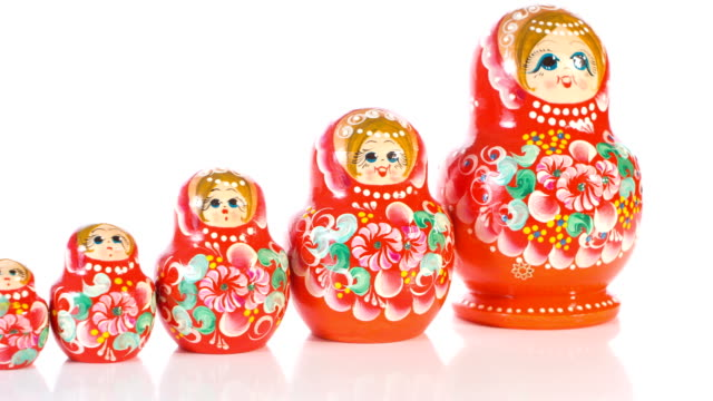 Traditional Russian Matryoshka babushka video