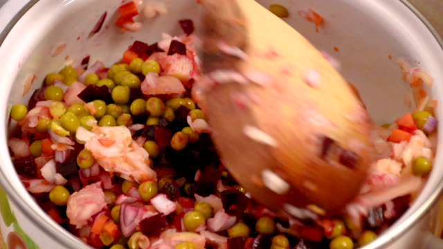 Traditional Russian salad video