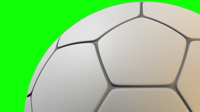 Traditional shaped soccer ball with a textured surface rotating video
