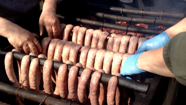 Traditional Smoked Sausage Traditional Smoked Sausage in Europen Union smokehouse stock videos & royalty-free footage