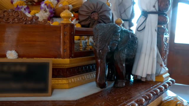 Traditional statue of a wooden elephant that is a sacred animal in India
