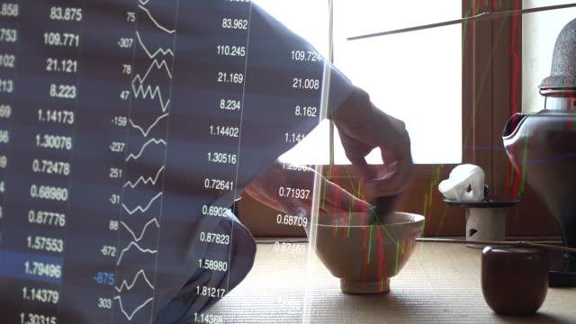 伝統的な茶道「佐道」と外国為替市場チャート - 骨董品点の映像素材/bロール