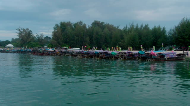 Traditional Thai Boats Moored on the beach video