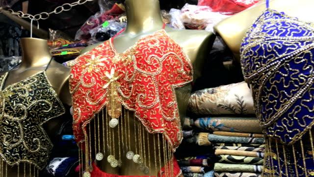 traditional turkish clothing at grand bazaar - grand bazaar video stock e b–roll
