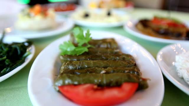 Traditional Turkish Food Sarma and Meze video