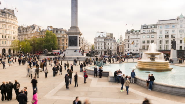 Trafalgar Square, London, time lapse at day
