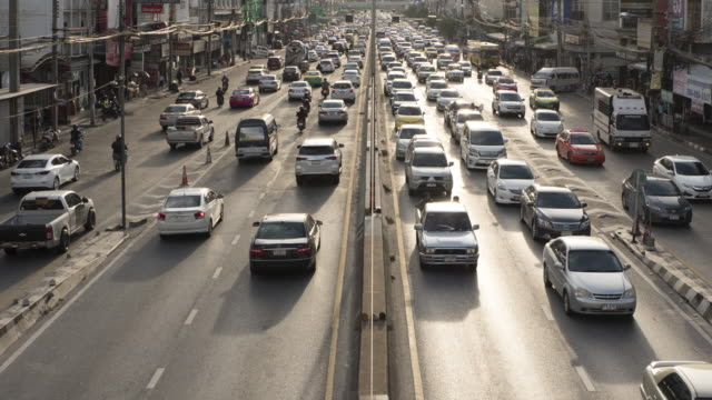 Traffic :4K Time lapse (4096x2160) : TimeLapse of Highway Traffic Downtown in Bangkok Thailand video