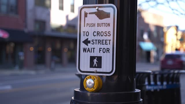 Traffic Activation to Stop Car Passenger Vehicles at Cross Walk for People to Walk Across