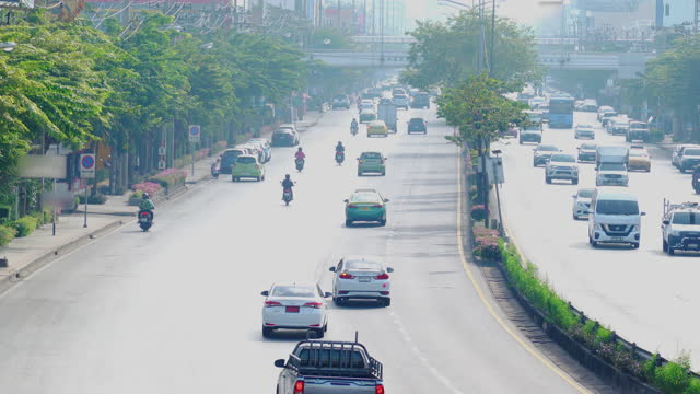 traffic and car crowd in rush hour in Bangkok, transportation with cityscape concept