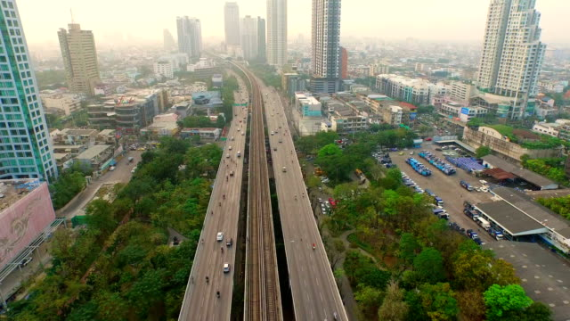 Traffic and transport system in Bangkok,Overhead aerial shot video