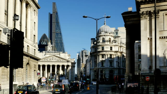 Traffic Around Royal Exchange In London City video