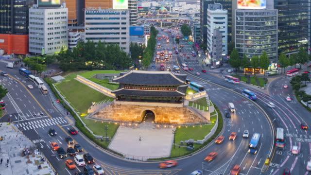 Traffic at Night in Seoul City and Namdaemun Gate, South Korea.Timelapse 4k video
