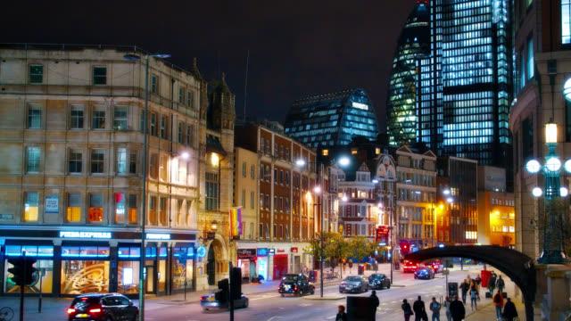 Traffic at Night London Street. Busines downtown. Standard Life Building. Colorfull Illumination