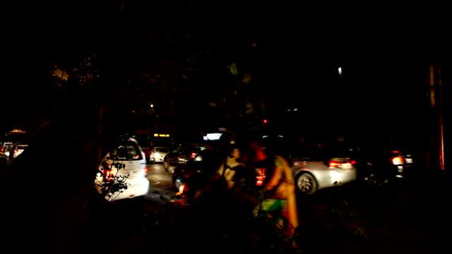 Traffic At Night Full HD : Traffic at night in Delhi/India. intercity stock videos & royalty-free footage