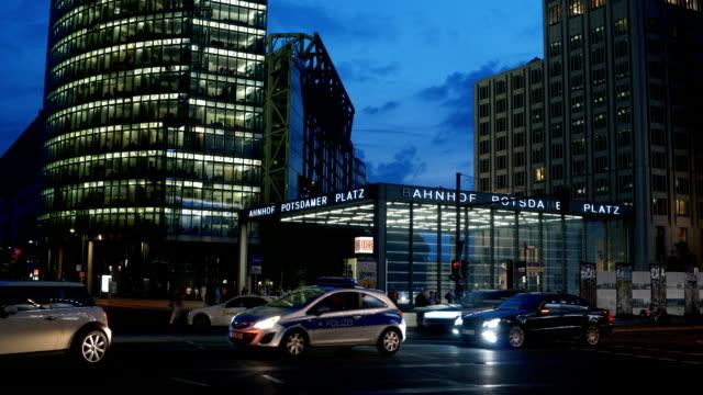 Traffic at Potsdamer Platz, Berlin, Timelapse Traffic at Potsdamer Platz, Berlin, Timelapse post modern architecture stock videos & royalty-free footage