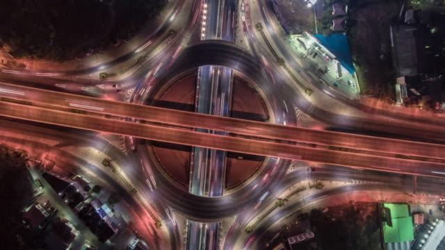 Traffic circle intersection at night