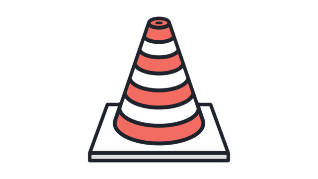 traffic collision flat line icon animation with alpha - road signs stock videos and b-roll footage