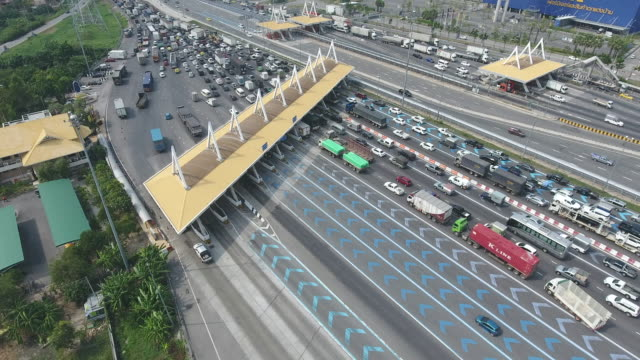 Traffic Congestion at Expressway Toll Gate, Aerial Video