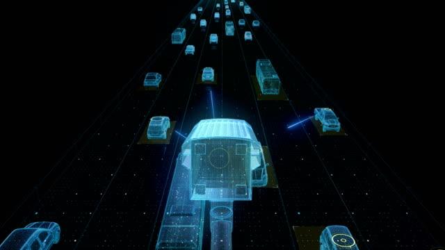 Verkehr Kontrolle Überwachungskameras. IOT-Technologie. Verkehrs-CCTV-Kameras montiert main am hohen Weg, Internet der Dinge. 4K Film – Video