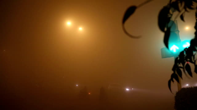 traffico in nebbia di notte time lapse - smog video stock e b–roll