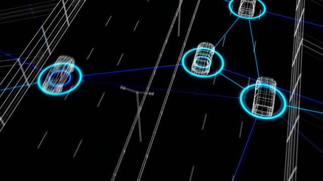 Traffic Highway Automated Control System Connecting All the Cars in Digital Network Seamless. Looped 3d Animation of Futuristic Surveillance System Artificial intelligence.