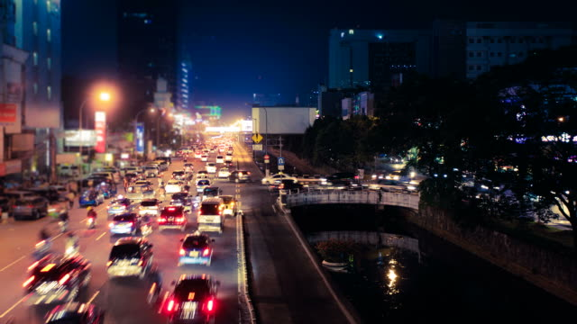 Traffic in Busy Asian City, Jakarta at Night, HD Video Timelapse of the busy streets of Jakarta at night jakarta stock videos & royalty-free footage