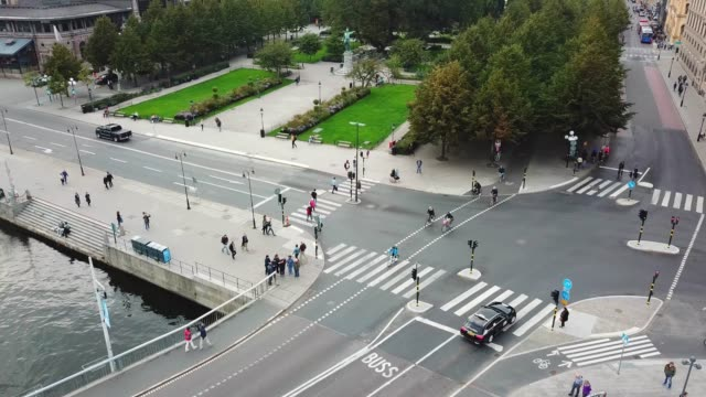 Traffic in central Stockholm seen from above Traffic in central Stockholm seen from above stockholm stock videos & royalty-free footage