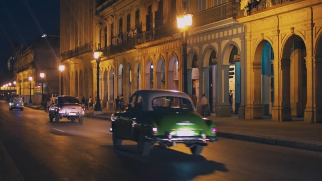 Traffic in centre of Havana at night, Cuba