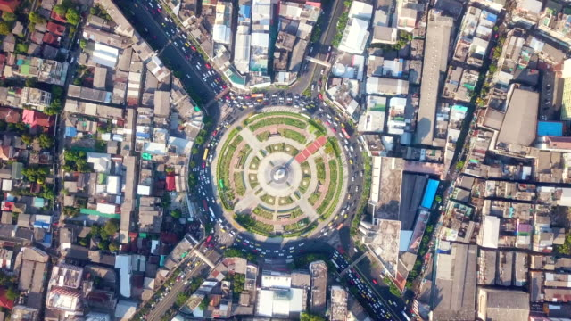 Traffic in city aerial view Aerial View, Circle, High Angle View, City, Cityscape cross section stock videos & royalty-free footage