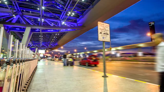 Traffic in front of the Suvarnabhumi Airport,Time lapse video