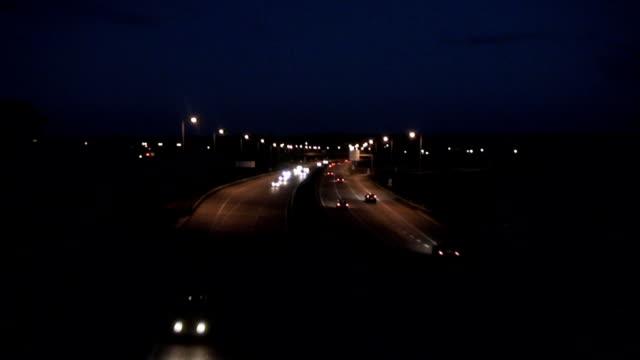 Traffic in Highway by night video