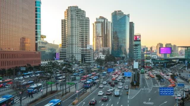 Traffic In Seoul City Street In South Korea Timelapse 4k Stock Video