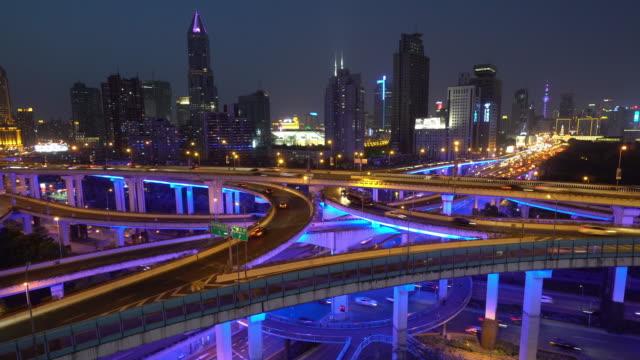 traffic in Shanghai at night video