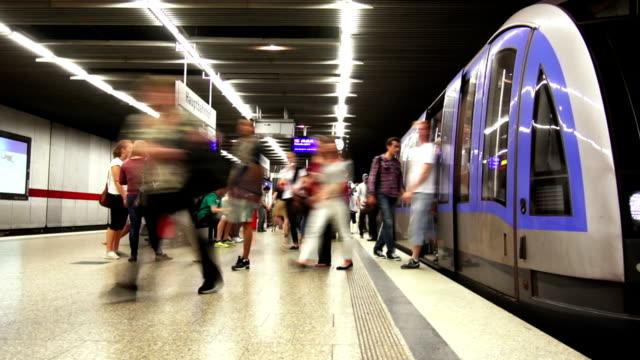 traffic in subway station time lapse - munich train station bildbanksvideor och videomaterial från bakom kulisserna