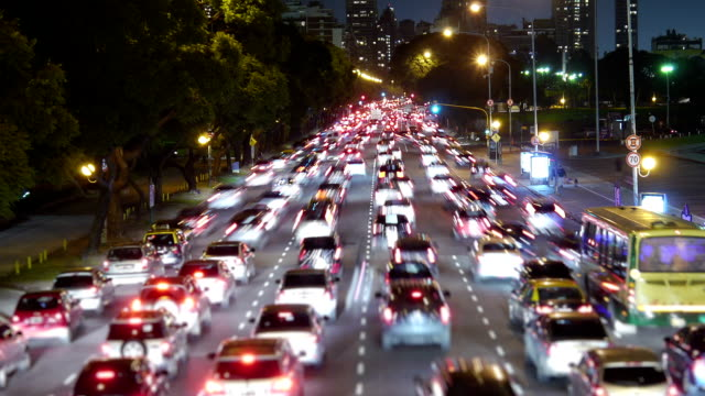 Traffic in the city. Avenue Time-Lapse, Night video