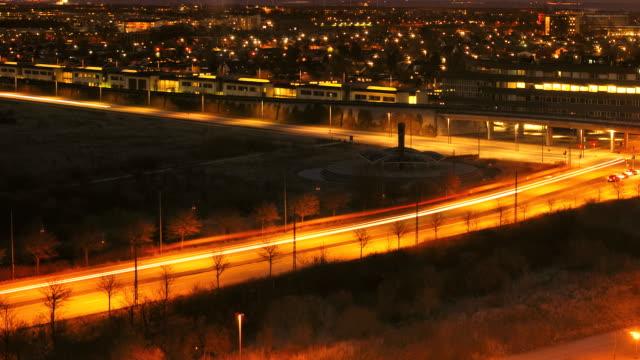 Traffic in the night of Copenhagen -  Timelapse video