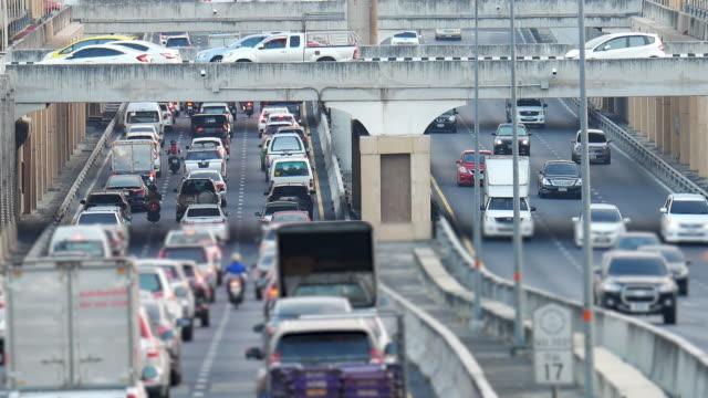 タイ、バンコクの交通渋滞 - 渋滞点の映像素材/bロール