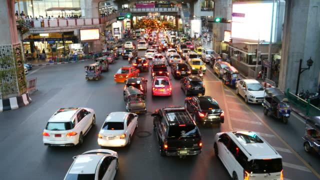 Traffic jam in city Traffic jam in Bangkok City bangkok stock videos & royalty-free footage