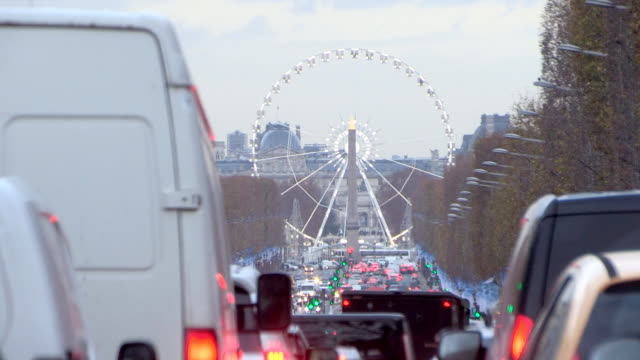 Traffic jam on avenue in Paris