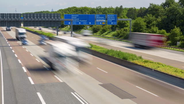 traffic jam on german highway autobahn a5 - time lapse - autobahn video stock e b–roll